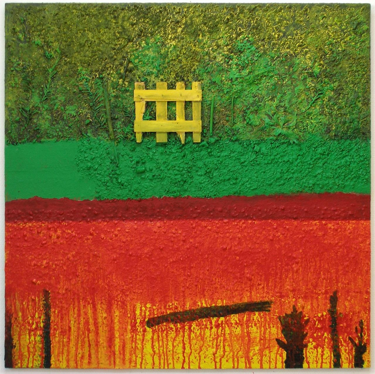 Garden, acrylics-mixedmedia on canvas, 90x90cm