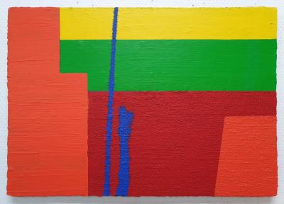 Untitled 3, acrylics-mixedmedia on wood, 30x43cm
